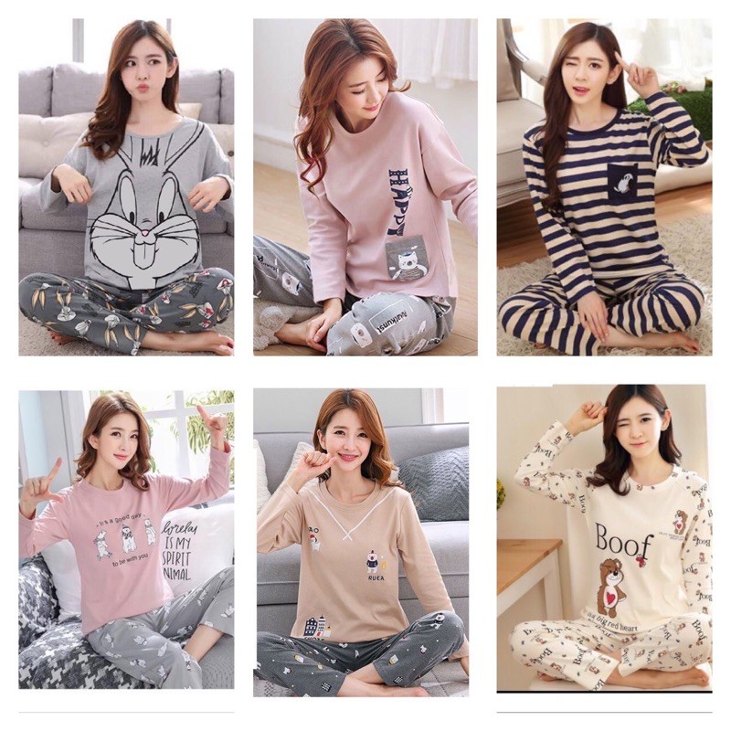 [READY STOCK] WOMEN CUTIE DESIGN COMFORTABLE SLEEPWEAR PYJAMAS (FREE SIZE(FIT UP TO SIZE L)(WITHIN 60KG)