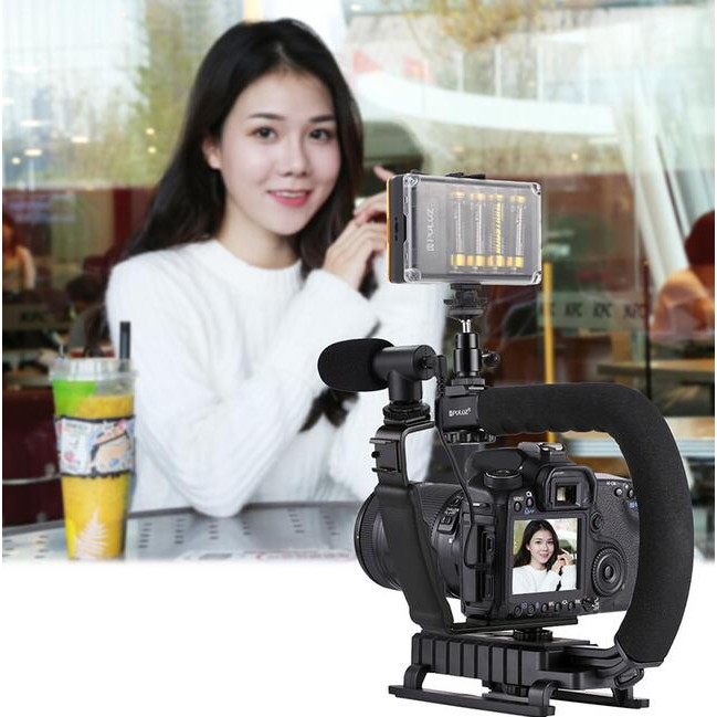 LED Studio Light Kit with Cold Shoe Tripod Head for All SLR Cameras and Home DV Camera,Enhance stability of video filming Adjustable stand U//C Shape Portable Handheld DV Bracket Stabilizer