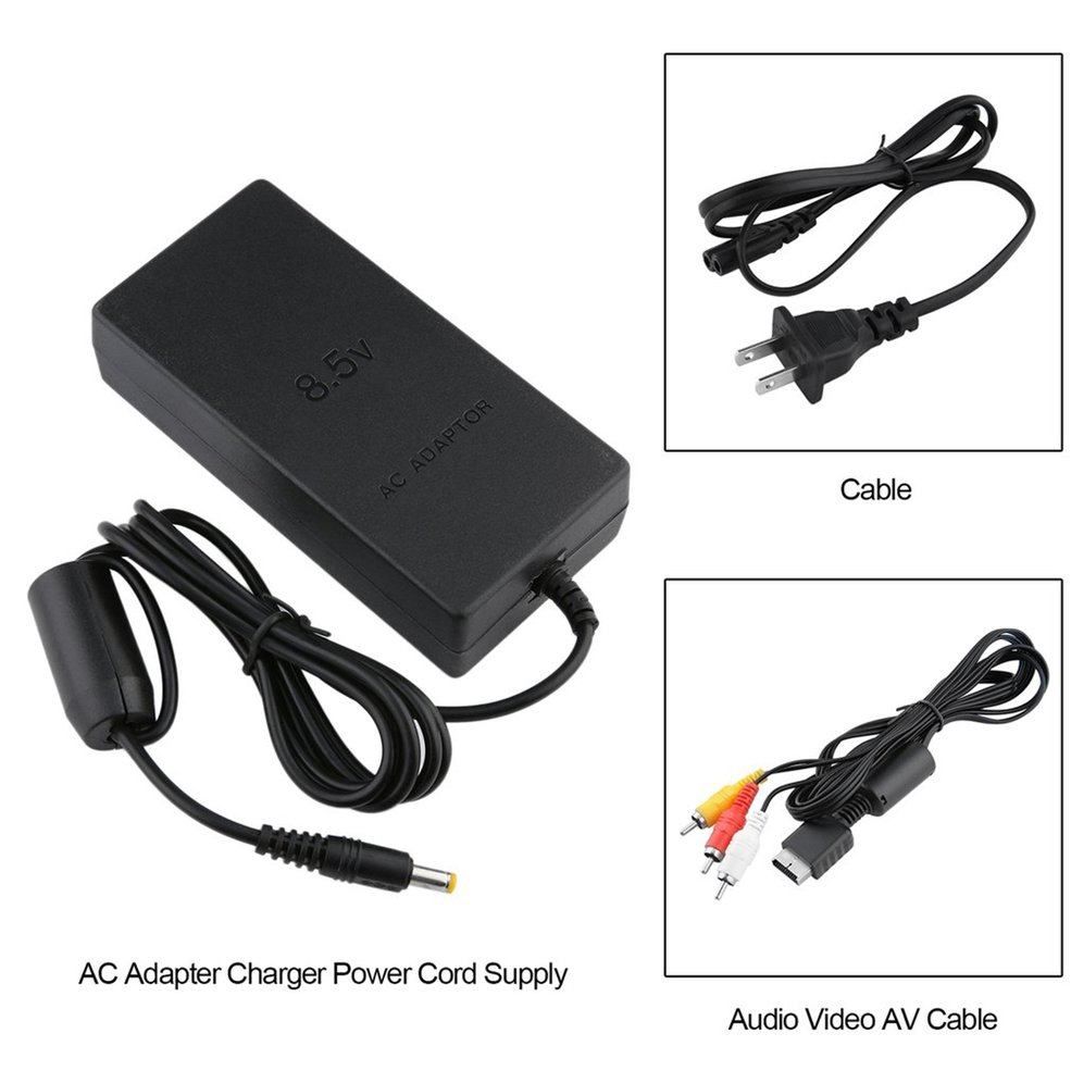 AC Adapter Charger Power Cord Supply with Audio Video AV Cable for Sony PS2