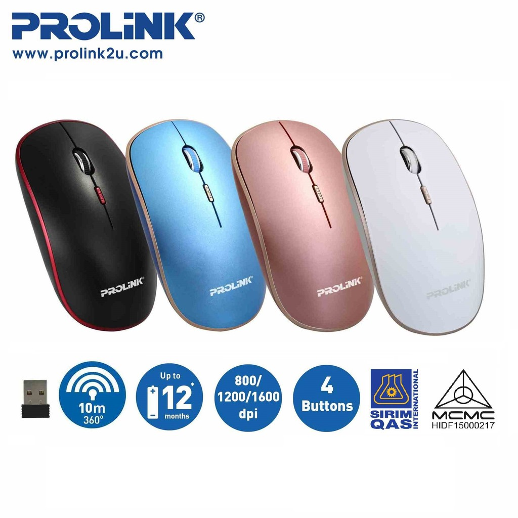 PROLiNK Wireless Optical Mouse Free AA Battery PMW6006