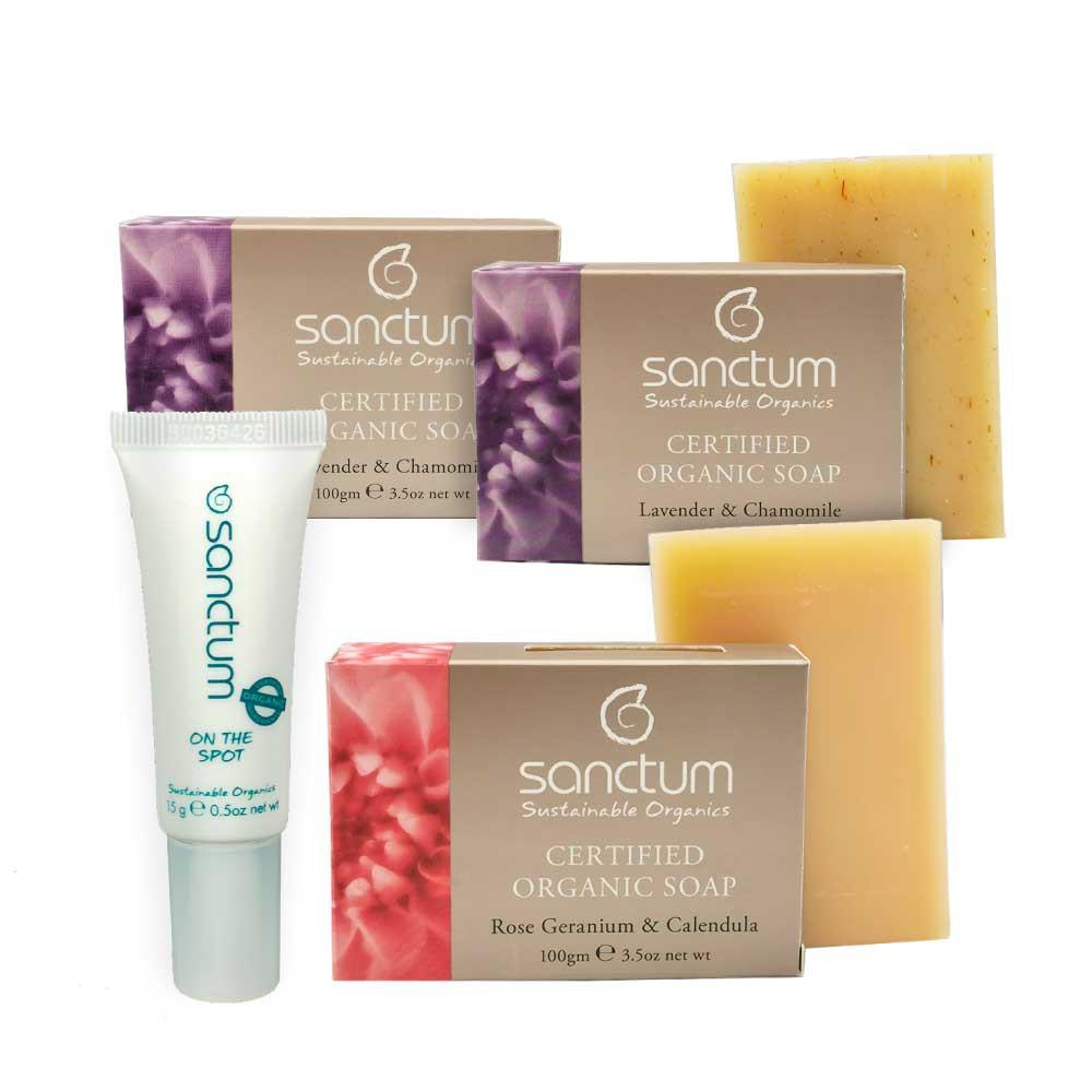 LAST STOCK!Exp: Aug2020 - (1)On The Spot Blemish Gel 15g + (2) Organic Lavender Body Soap 100g + (1)Rose Body Soap 100g