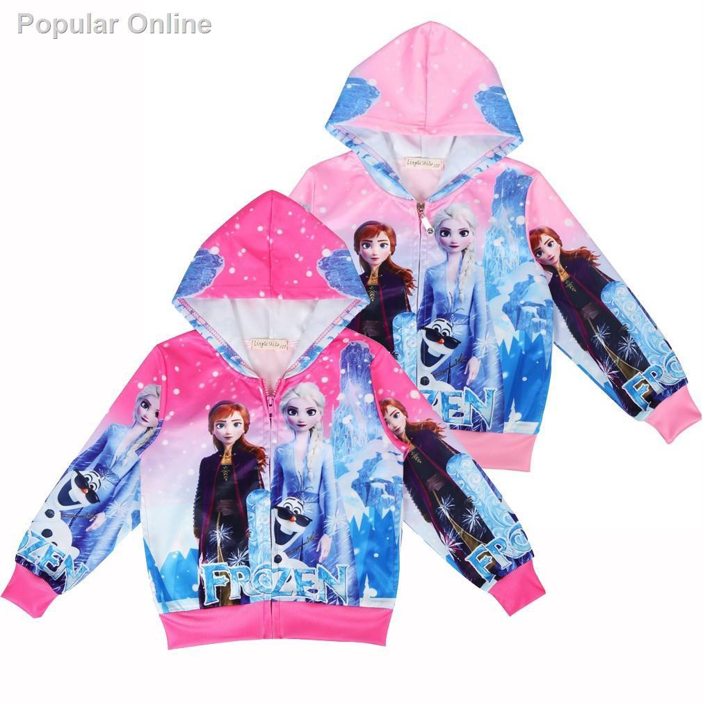 Frozen Elsa Anna Hoodie zipped jacket Sweater Jumper Girls  pink childrens kids