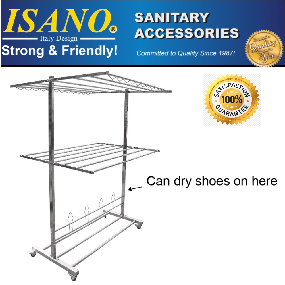 ISANO 1344DR Premium Double Layer Stainless Steel Solid Clothes Drying Cloth Rack Wheels 110kg NOT RUSTY Rak Penyidai Ba