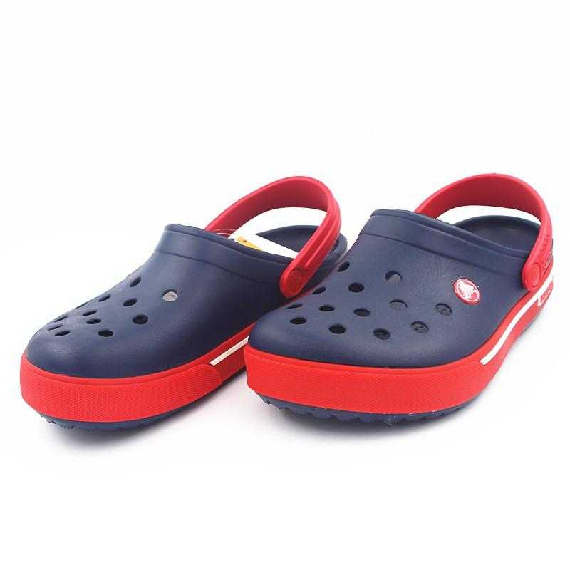 ec2e63320b754 Crocs Men's Sandals Couple Beach Shoes [Dark blue red]
