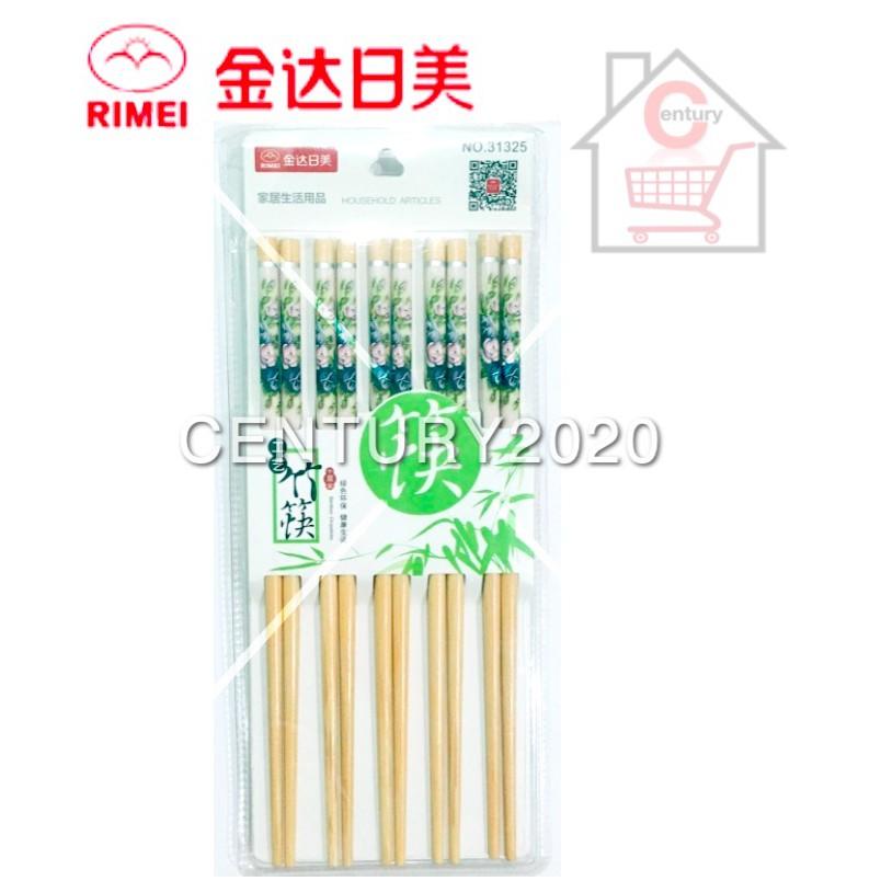 RIMEI Painted Printing Bamboo Chopstick Flower Printing 10 Pairs 31325