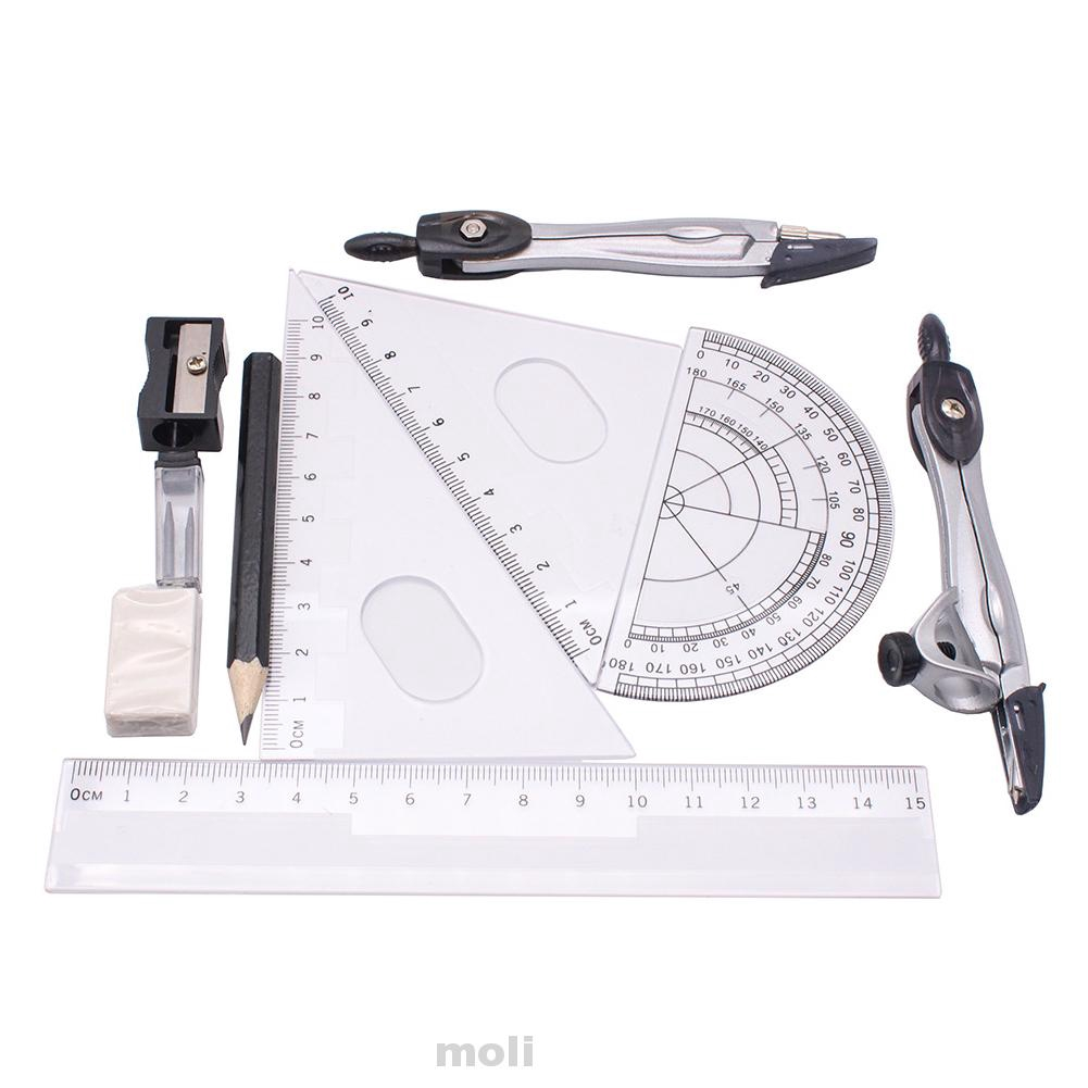 Set Staedtler Math Ruler Protractor Compass Piece Instruments School 10 Pcs.