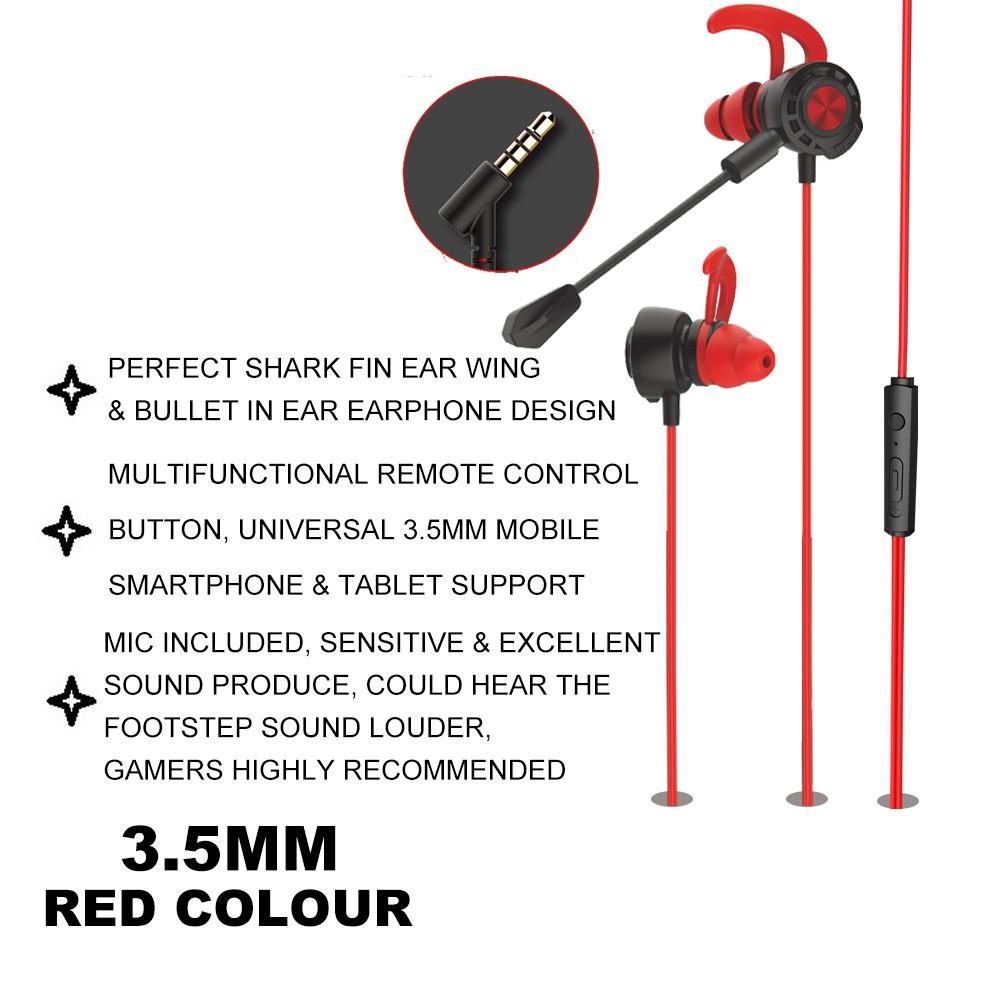IKAKU KAKU DIANJING 3.5mm Gaming Earphone Handsfree In Ear Super Bass Microphone Headset Smartphone Mobile Pc Laptop