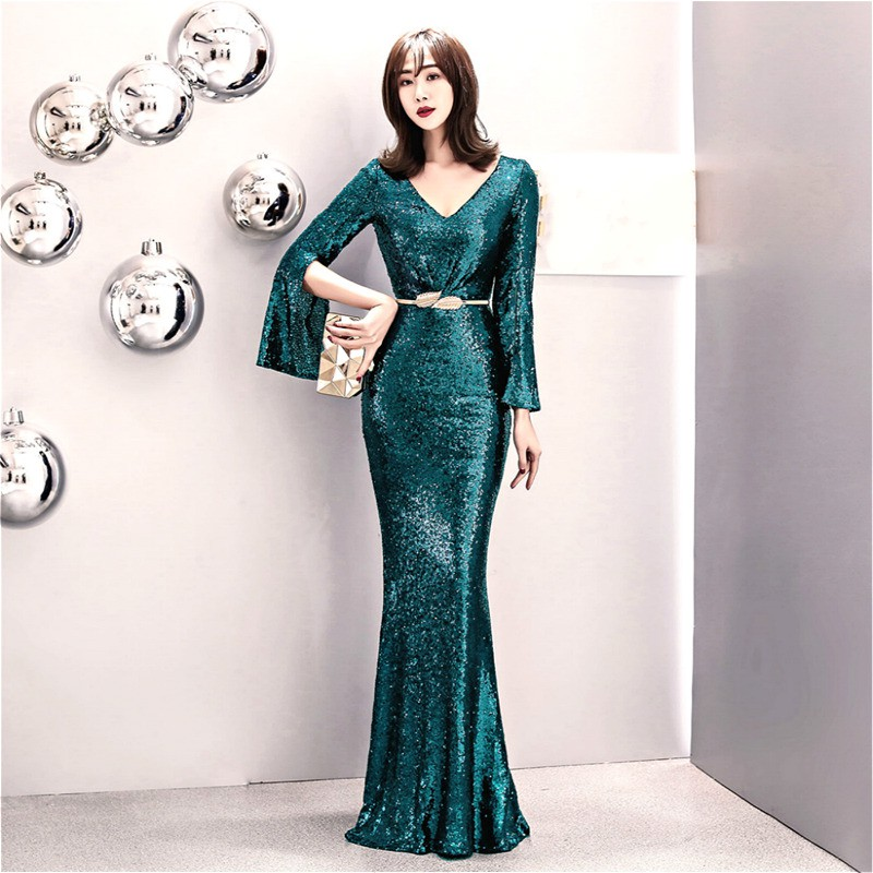 02a6748e1d1f3 long slit sleeves sequin wedding party dress formal dinner eveing maxi  dresses