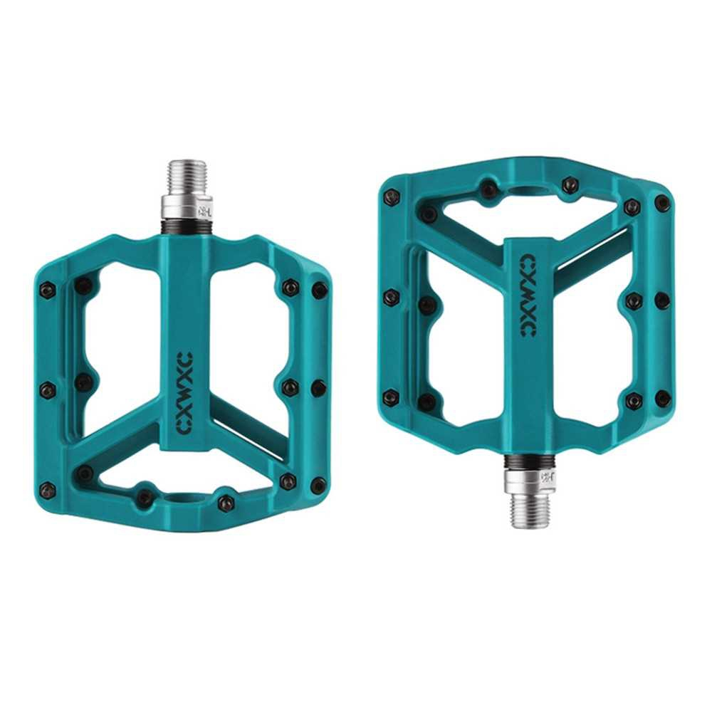 Nylon Bicycle Pedal Pair Steel MTB Road Bike Pedals 3 Sealed Bearing Cycling Parts (Blue)