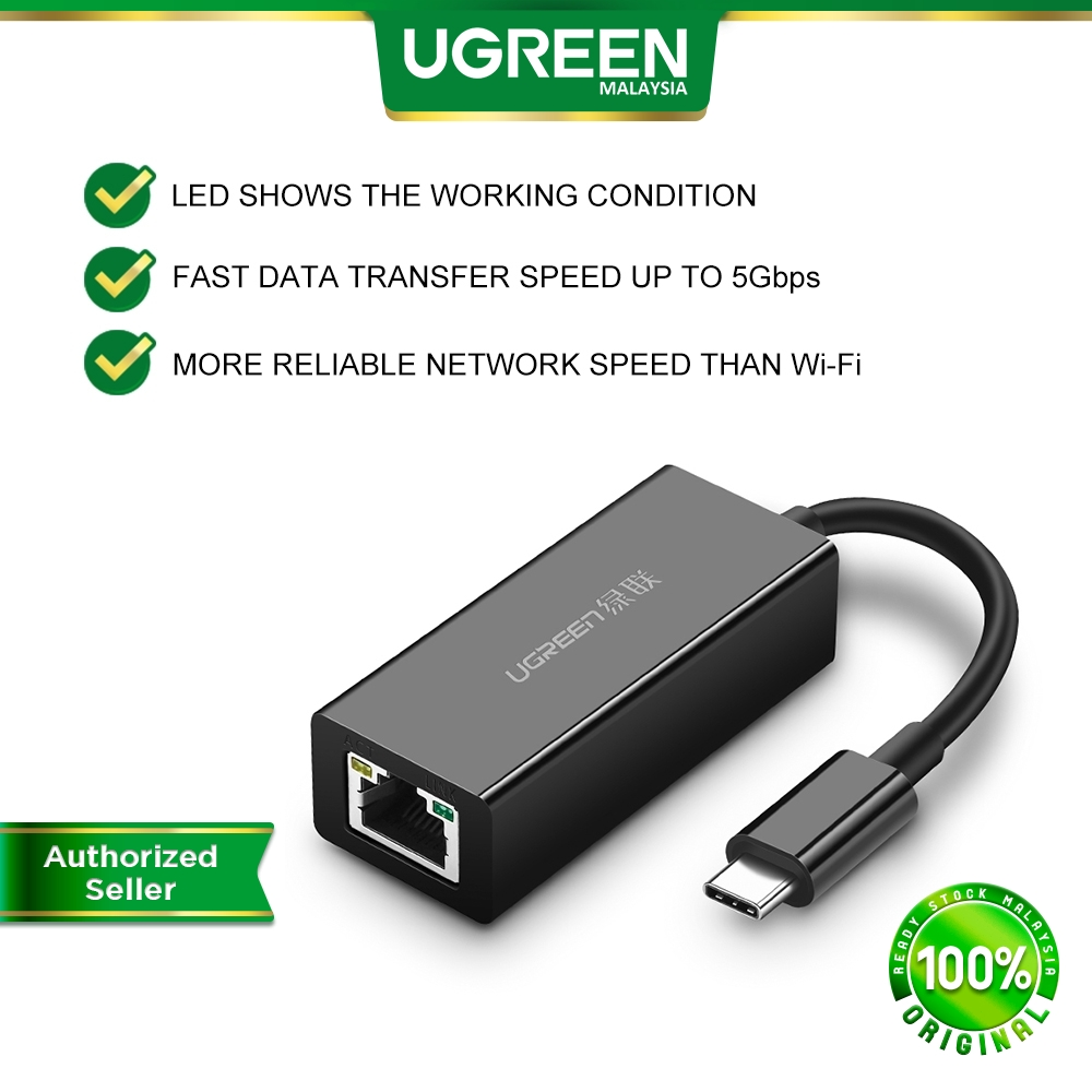 UGREEN USB C to Ethernet Gigabit Adapter Type C to RJ45 Dongle 1000Mbps Network USB 3.1 for MacBook Android Laptop