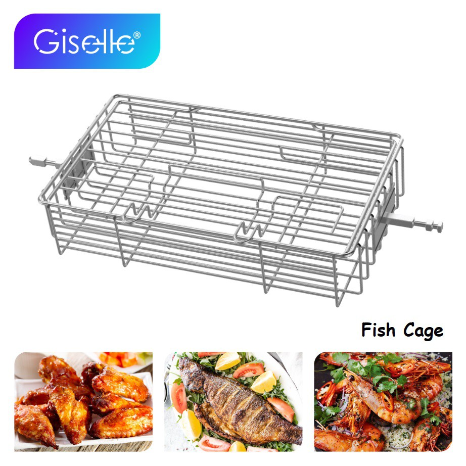 Giselle Grill Roaster BBQ Rotisserie Ovenware Skewers Oven Rotate Cage Roast Fish Shrimp Meat Shelf Baking KEA0340S1