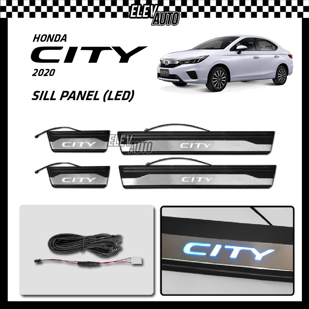 Honda City GN2 2020 2021 LED Stainless Steel Side Step Side Sill Step Door Step Scuff Plate