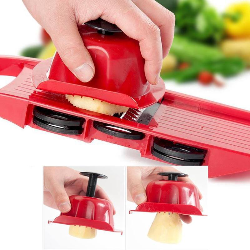 6 in 1 Vegetable Cutter Food Chopper Steel Blade Slicer Potato Peeler Carrot Cheese Grater Dicer Fruit Kitchen Accessori