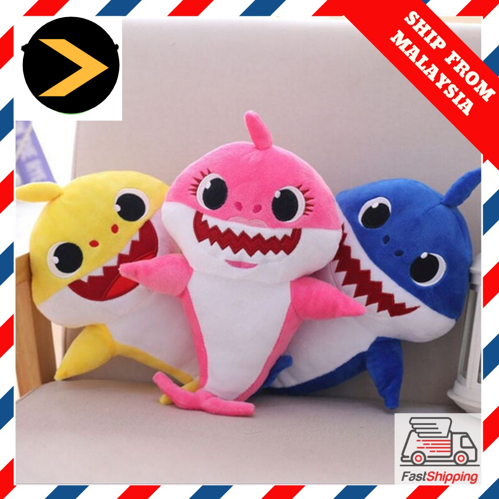 Hot Selling 32CM Soft Dolls Baby Cartoon Shark Toys with Singing & Glowing