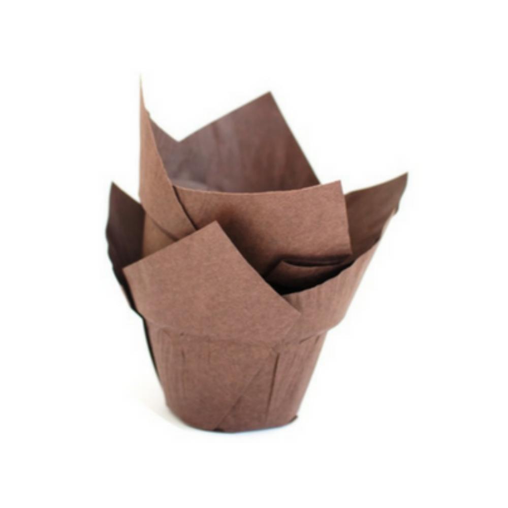 Novacart, Baking Cup, Tulip, With Step, Ø50, Brown, 150 pcs