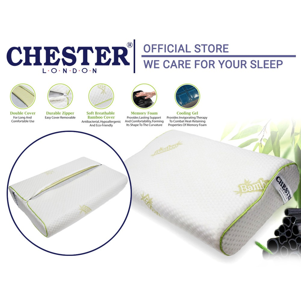 Chester London Contour Bamboo Charcoal Memory Foam Pillow With Gel - 1 pc