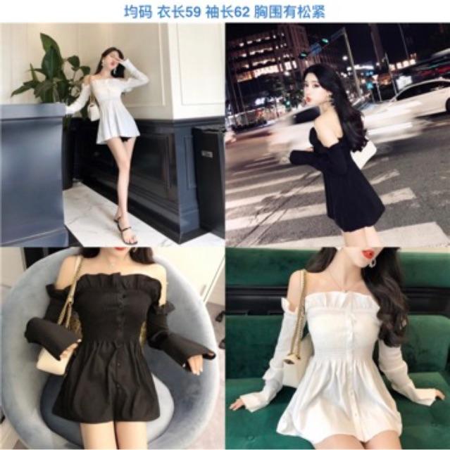 [Free Size]Korean Sexy Look long sleeve shirt women秋季新款甜美小个子性感一字肩收腰露背木耳边长袖衬衣女