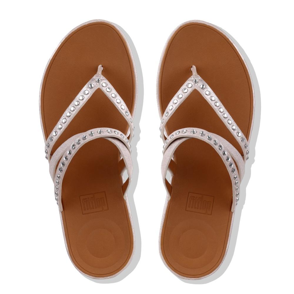69cfcd6c984a8 Fitflop Linny Criss Cross Toe-Thong Sandals - Crystal (Bronze Metallic)
