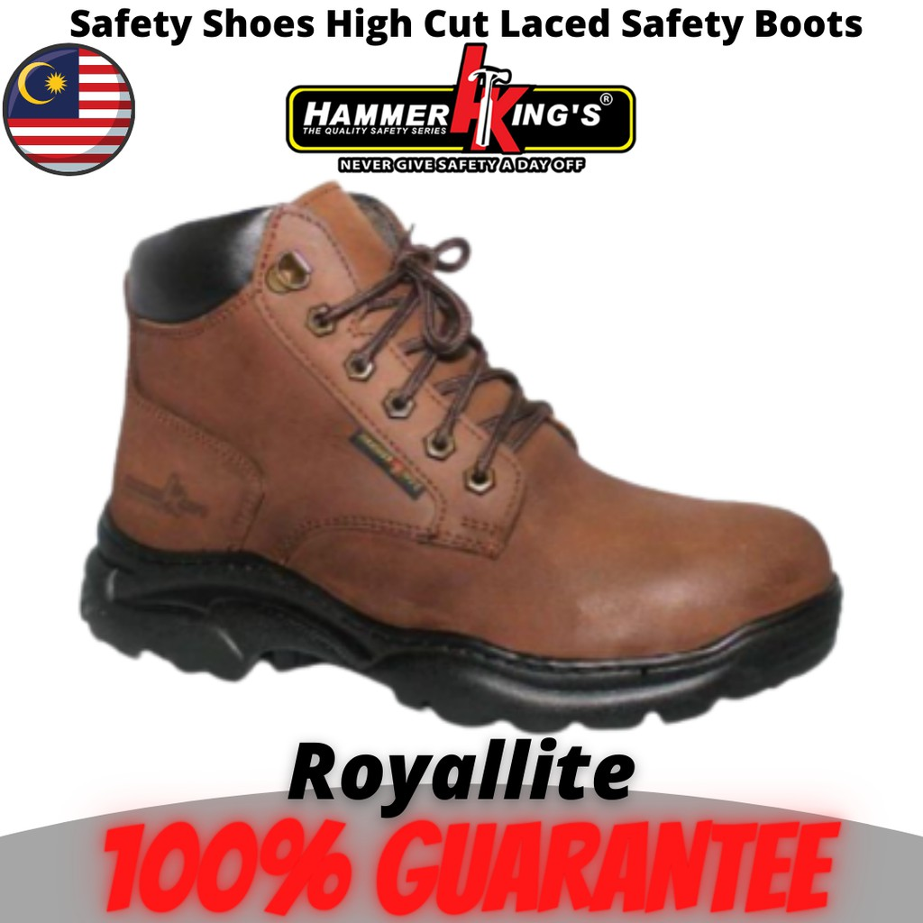 Hammer King's Safety Shoes High Cut Laced Safety Boots (13014) Brown