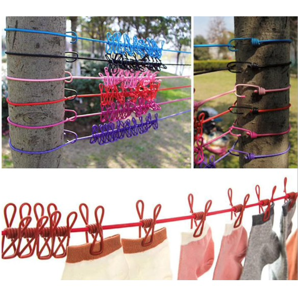 Portable Windproof Clothesline Hanger Drying Rack Outdoor Travel Clothes Hanging Rope Line Travel Clothespins With 12 Cl