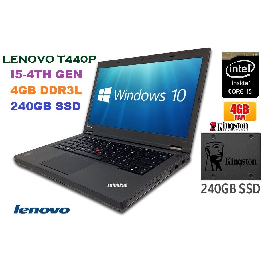 LAPTOP LENOVO T440P 4TH GEN CORE I5 4GB DDR3L RAM NEW 240GB SSD