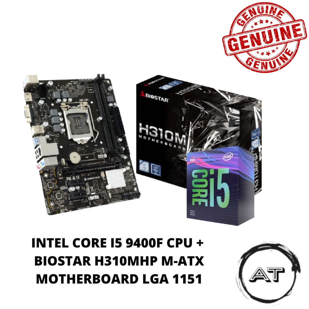 Intel Core i5 9400F CPU + BIOSTAR H310MHP M-Atx Motherboard LGA 1151 COMBO
