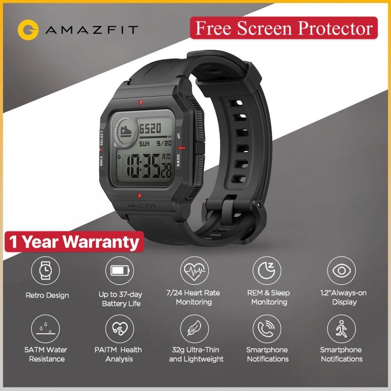 Amazfit NEO Smart Watch Always On Display Heart Rate Monitoring Sleep Monitoring Water Resistant