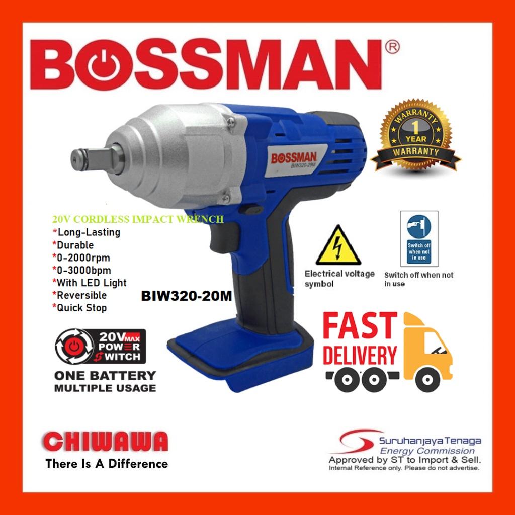 BOSSMAN BIW320-20M 20V CORDLESS IMPACT WRENCH ( MACHINE ONLY)MESIN TAPA  SEPANA