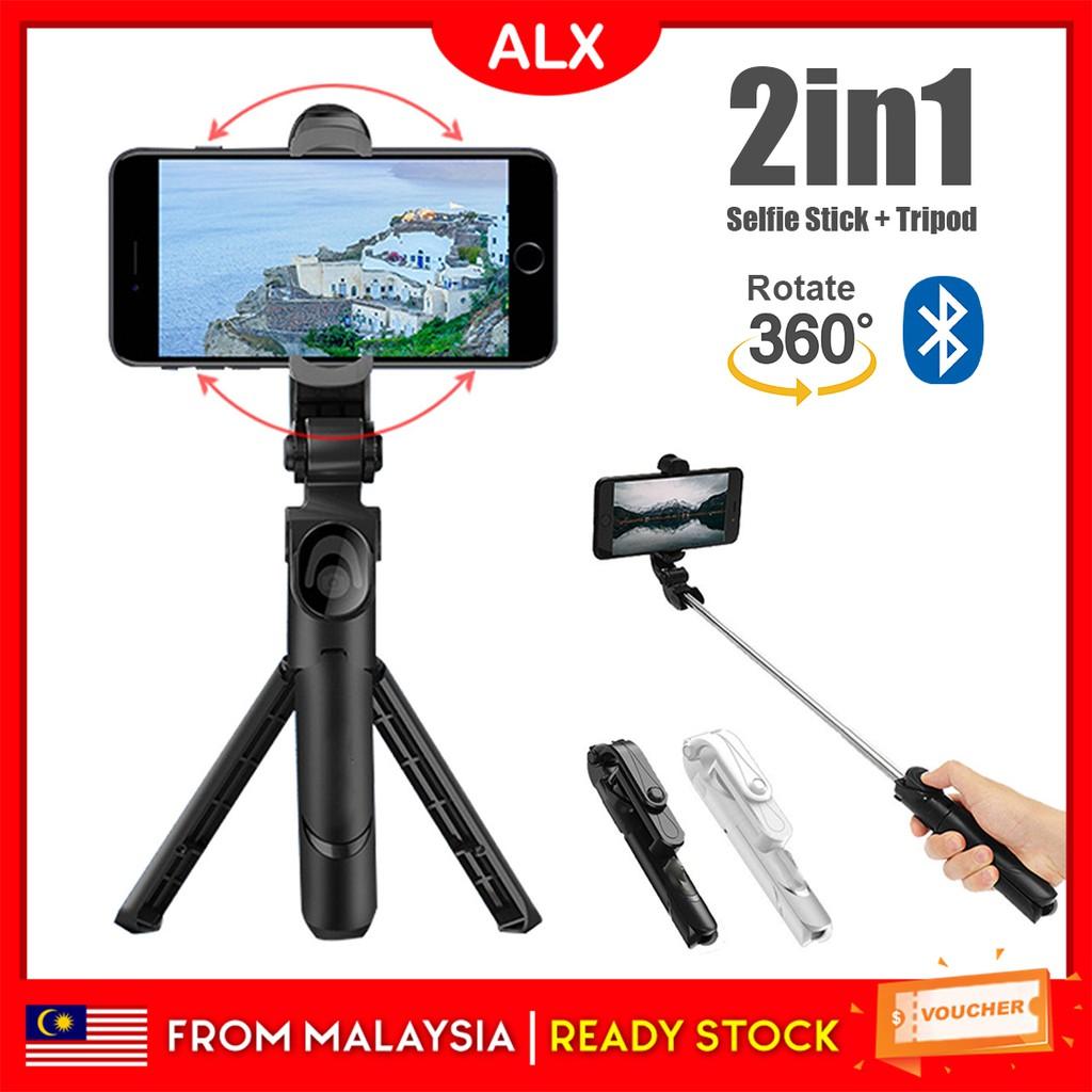 ALX Malaysia Warranty 3 in 1 Bluetooth Selfie Stick Monopod Tripod 360 with  Remote Control