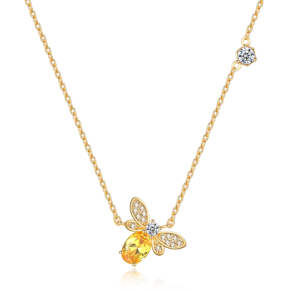 60bb2b01d0822 Fashion yellow crystal bee pendant necklace
