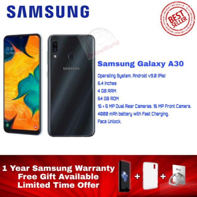 SAMSUNG GALAXY A30 A305 SM-A305 (4GB RAM+64GB ROM) SAMSUNG MALAYSIA SET