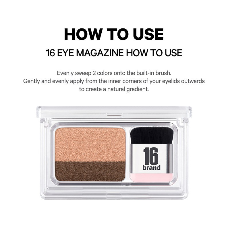 Made in Korea 16 Brand Eye Shadow Magazine (Mix & Match 2 Colors)