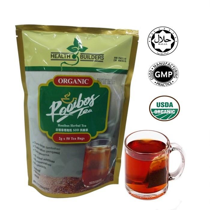 100% Original Health Builders Rooibos Organic Tea /Tea Rooibos Organik
