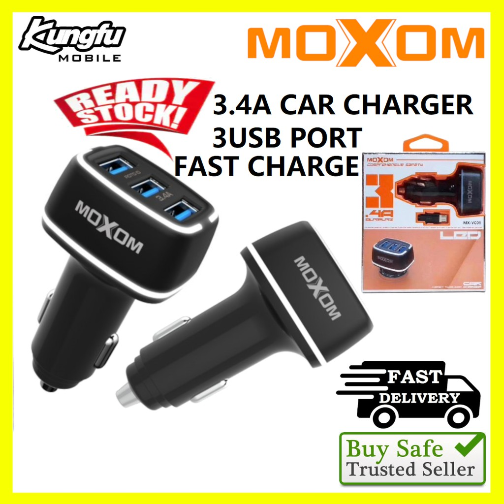 Moxom MX-VC01 3.4A 3USB Output Car Charger With LED Light And Micro Cable