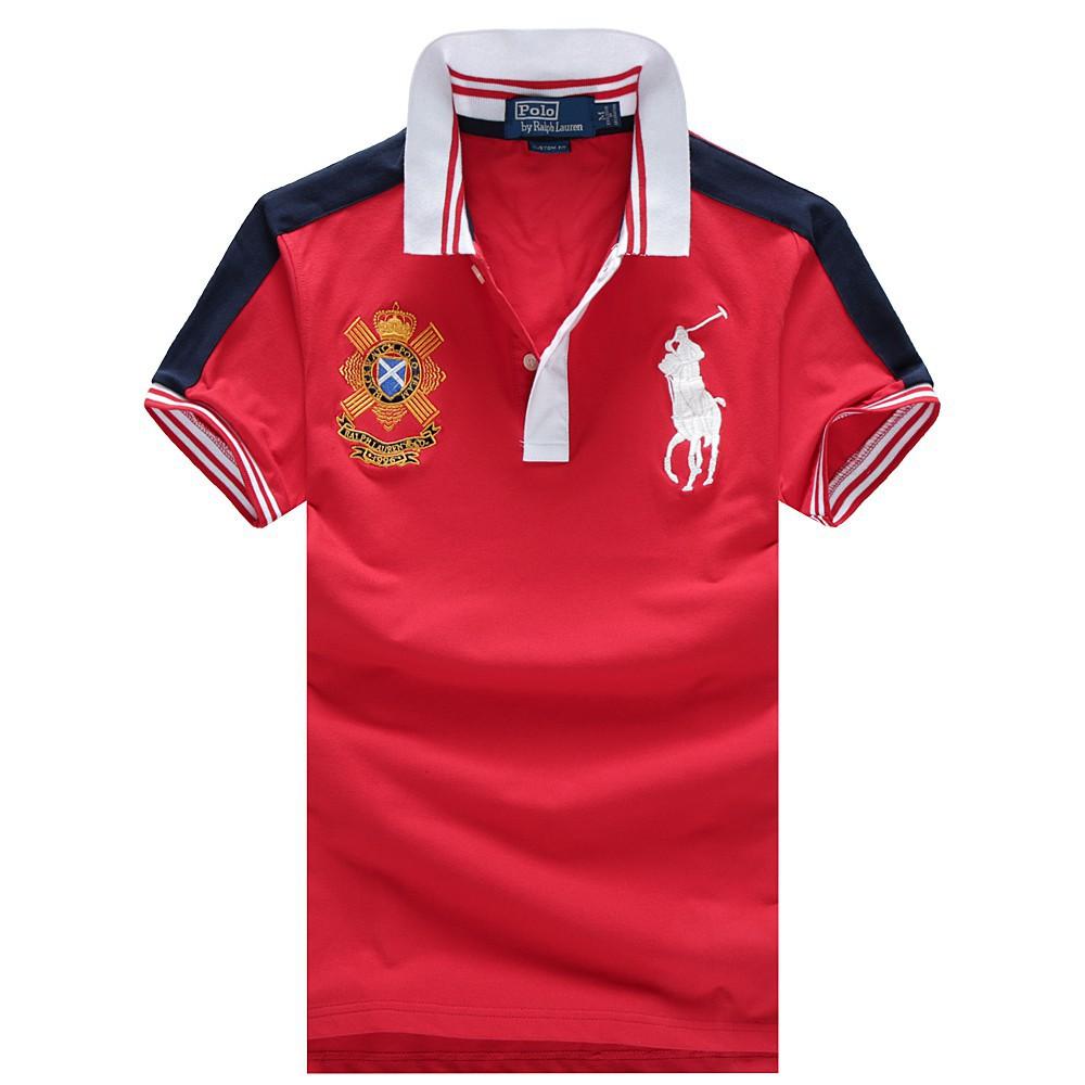 ff8553336f75e Ralph Lauren Men Big Pony Short Sleeves Polo Shirt Polo RL 67 Royal Blue  Red
