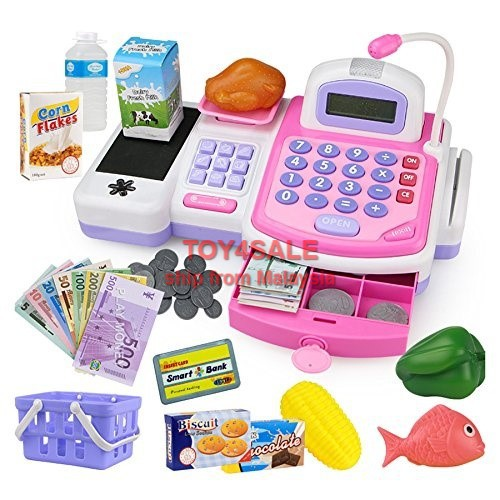 🌟Ready Stock🌟 Kids Electronic Cash Register Toy + Sound Scale Scanner  Credit Card Reader Gift