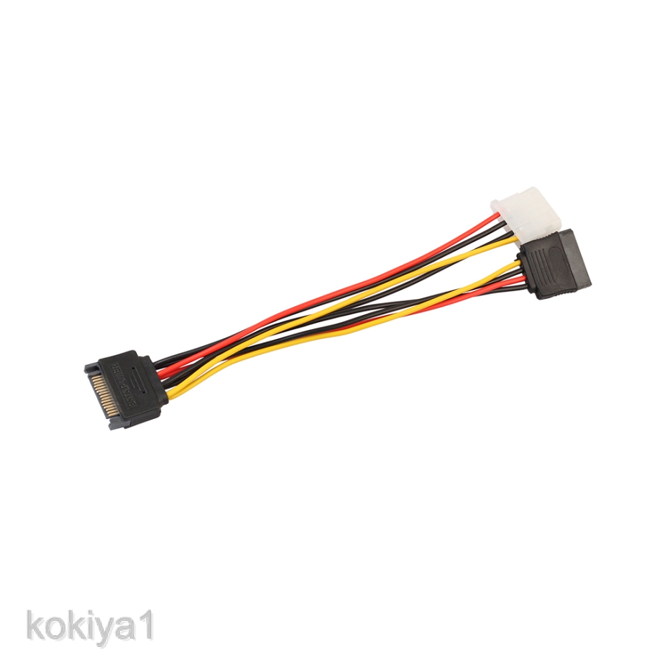 15 Pin SATA Male to 2 x 4 Pin IDE Female Y Splitter Female Power Cable 18CM