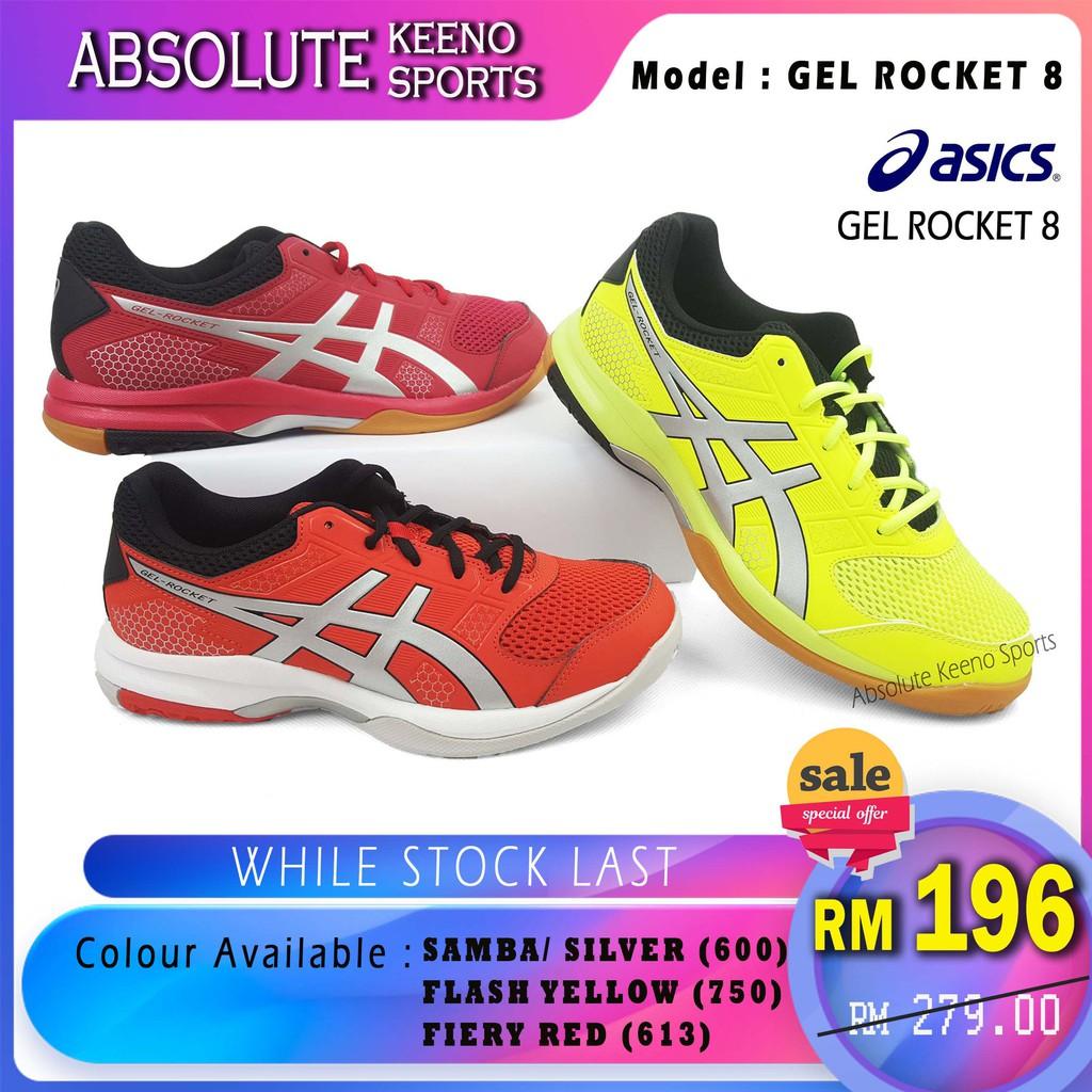Asics Gel Rocket 8 original grey black  tomato color  69c341e386