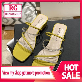 Square Head Muller Shoes Female 2019 Spring and Summer New Baotou Half Slippers Female Transparent Plastic Cross Straps Slippers Womens Tide
