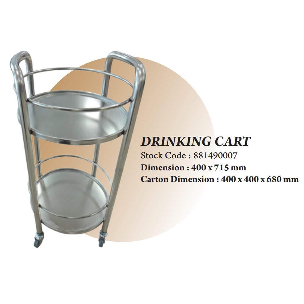 THE BAKER STAINLESS STEEL DRIKING CUP CAWAN CART TROLLEY STORAGE TABLE