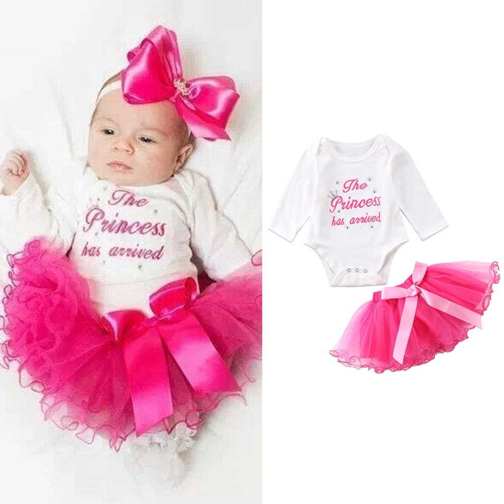 160abbf88f318 👒Newborn Infant Baby Girls Letter Romper Tops+Tutu Skirts Outfits Clothes  Set