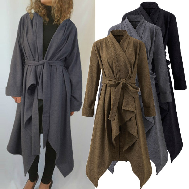 Stylish Women Woolen Blend Long Coat Hooded Black Slim Fit Asymmetrical Hem Coat