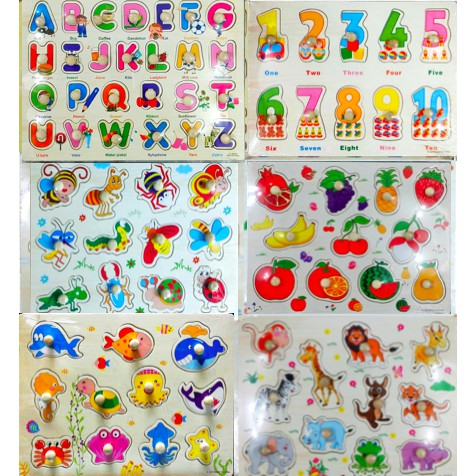 (Set of 6) children learning board (wooden)