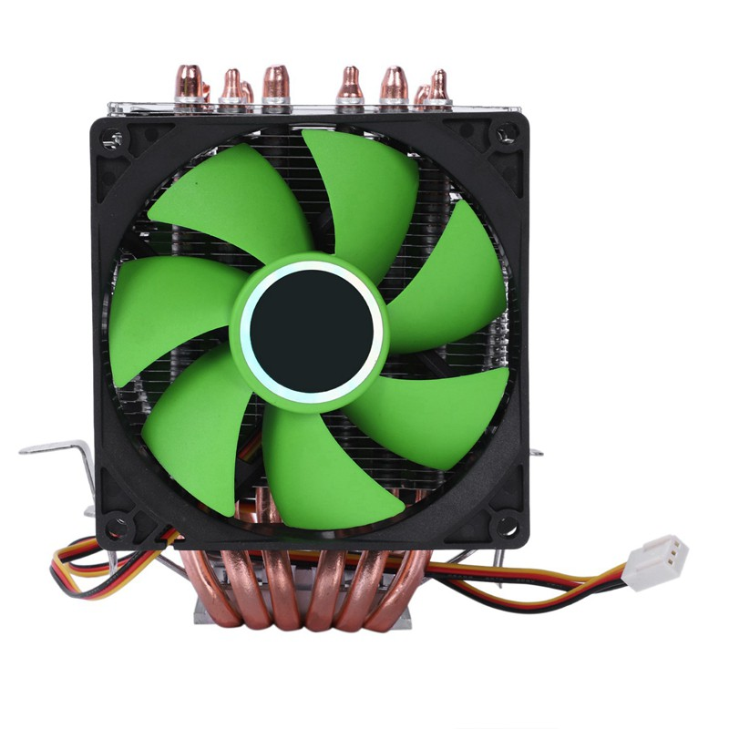 Fan CPU Cooler 6Heat pipes Dual Green LED for Intel LGA 775 1150 1151 1155 1156