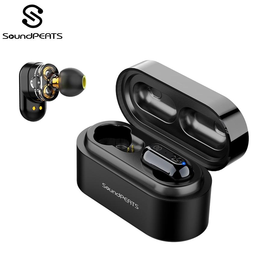 SoundPEATS Bluetooth 5 0 Dual Dynamic Drivers True Wireless Earbuds in-Ear  Stereo IPX6 Sweatproof Earphones Headset