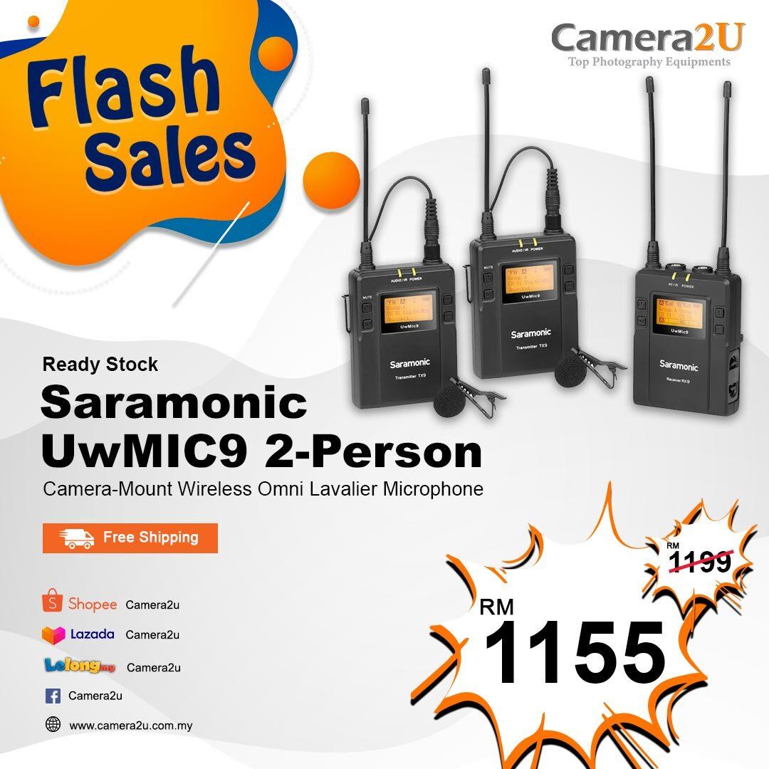 READY STOCK Saramonic UWMIC9 RX9 + TX9 + TX9, Wireless Dual Lavalier Microphone