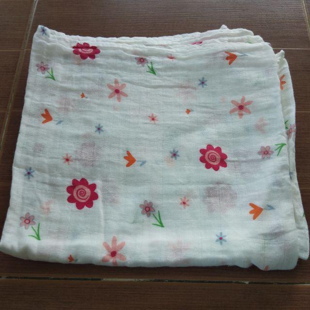 ผ้าห่อตัวมัสลินแบมบู 70% คอตตอน30%  ผ้าห่อตัวมัสลินแบมบูออแกนิกส์ใช้งานได้สาระพัดประโยชน์จริงๆผ้าทอ 2ชั้นขนาด 110