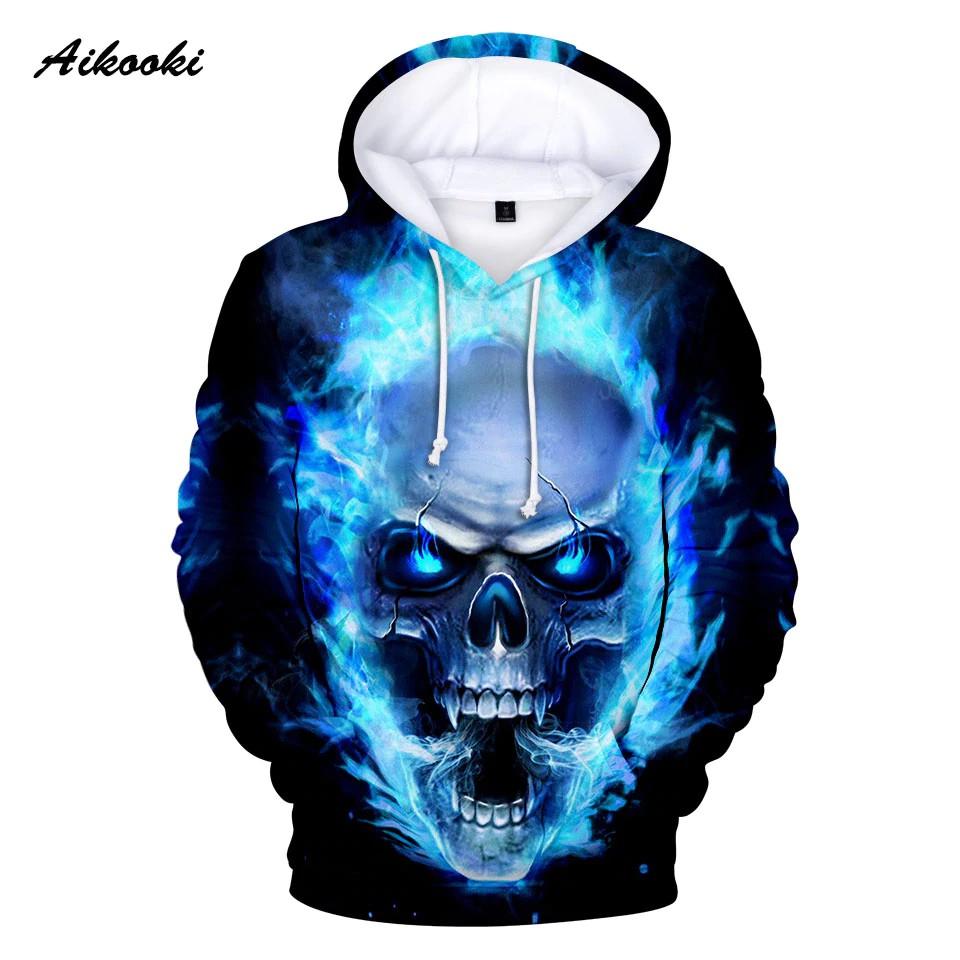 3D Print Color Galaxy Space Skull Hoodie Sweatshirts Large Hooded Streetwear