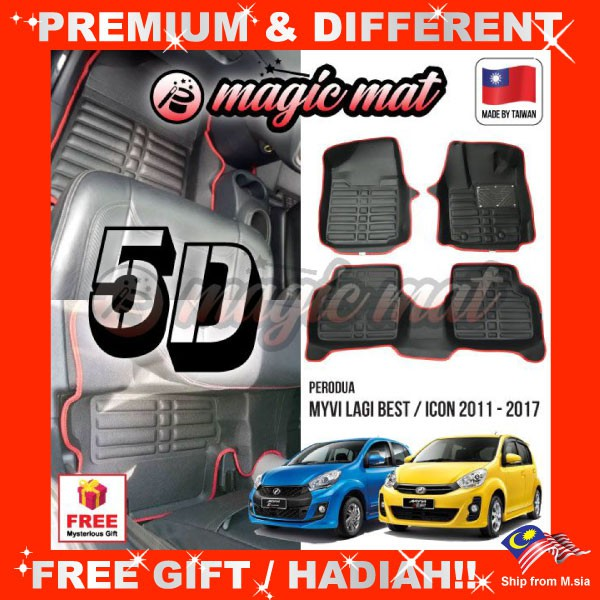 [FREE GIFT Gift] PERODUA MYVI LAGI BEST / ICON 2011-2017 (5 Seater) MAGIC MAT 5D OEM PU Leather Floor Mat Anti-Slip Carpet