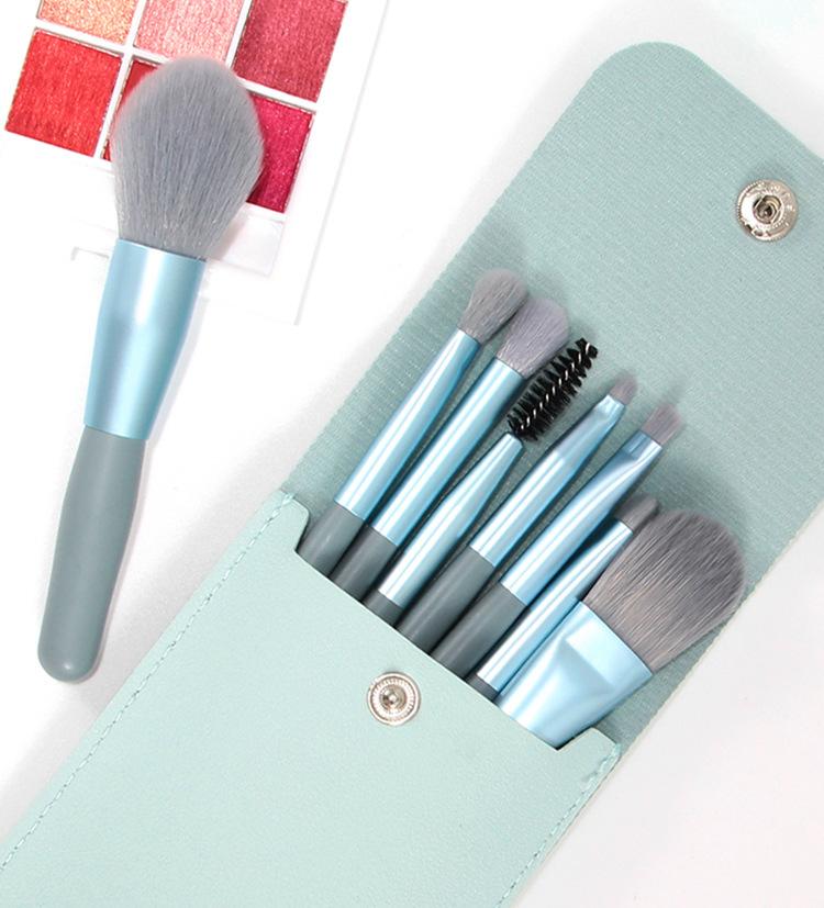 GDeal Mini Makeup 8pcs Brush Set With Wooden Handle New Portable Beginner Soft Hair Beauty Tool Set